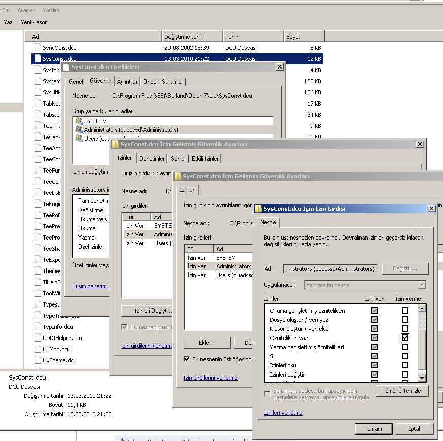 SysConst.dcu dosyasının izinlerini ayarlamak